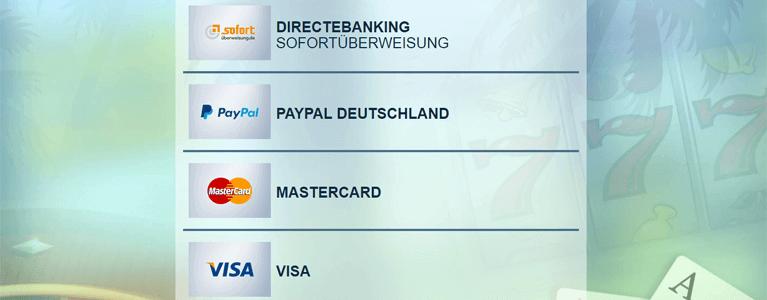 Einzahlen im Sunnyplayer Casino per Kreditkarte, PayPal oder anderen e-Wallets