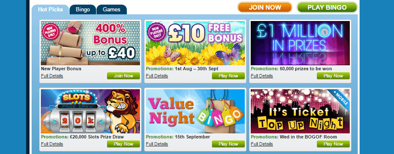 Die William Hill Bingo Startseite in buntem Design