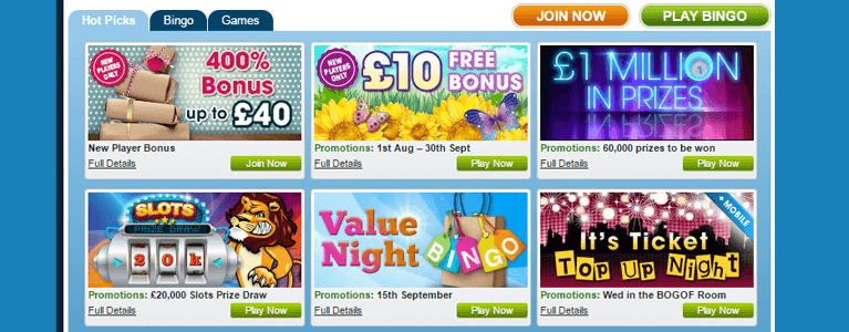 Die William Hill Bingo Startseite in buntem Design