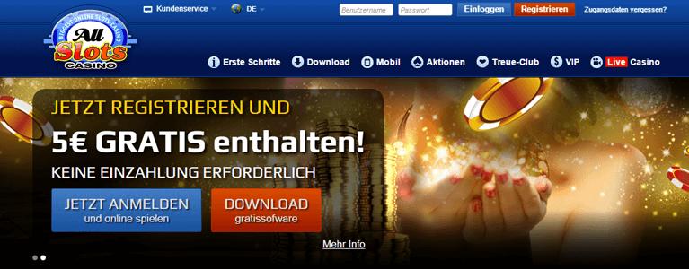 All Slot 5 Euro Casino Bonus ohne Einzahlung