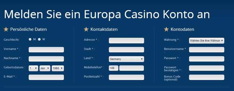 Europa Casino Spielerkonto Bonus Registrierung