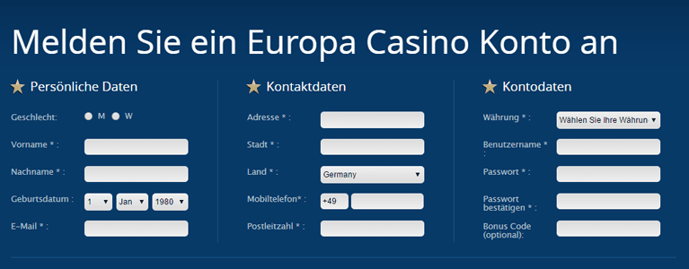 Europa Casino Aktionscode