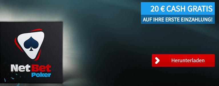 NetBet Poker Bonus nutzen und 20 Euro Cash erhalten