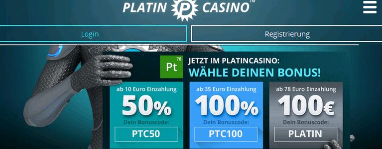 Platin Casino ohne Einzahlung