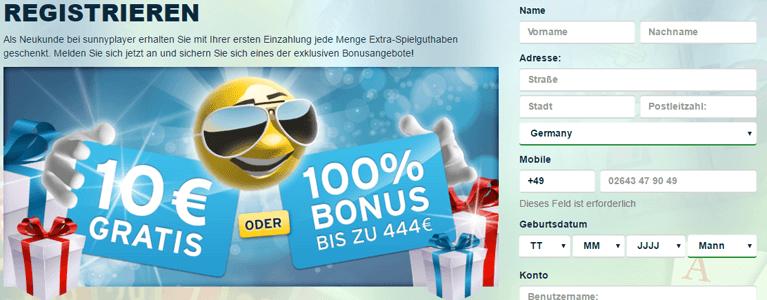 Sunnyplayer kostenlos Bonus Registrierung