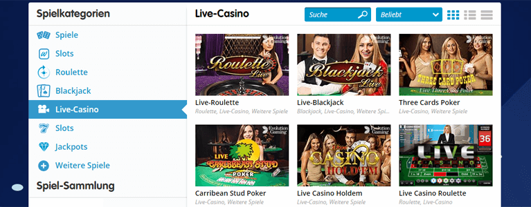 Live-Casino bei Casino Room nutzen