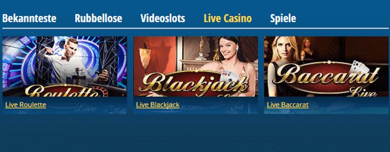 Live-Casino Angebot