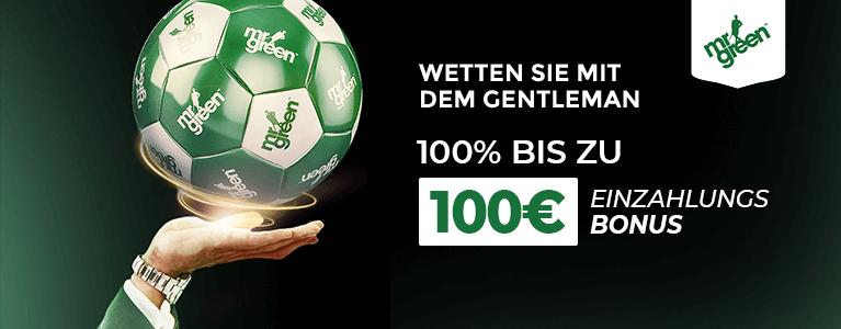 Mr Green Sportwetten Bonus für Neukunden