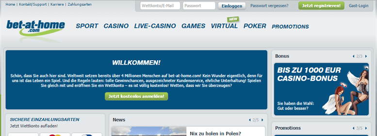 bet-at-home PayPal Wette Live
