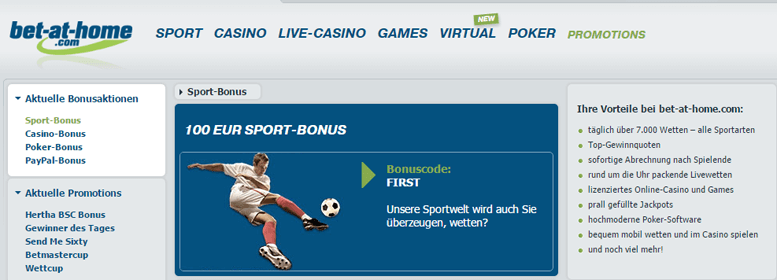 bet-at-home PayPal Bonus gratis 100 Euro