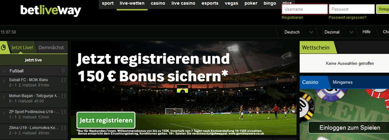 betway PayPal Bonus gratis 150 Euro