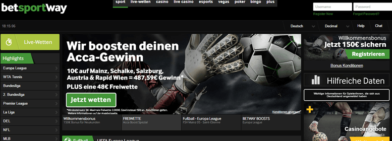 betway PayPal Wette Live
