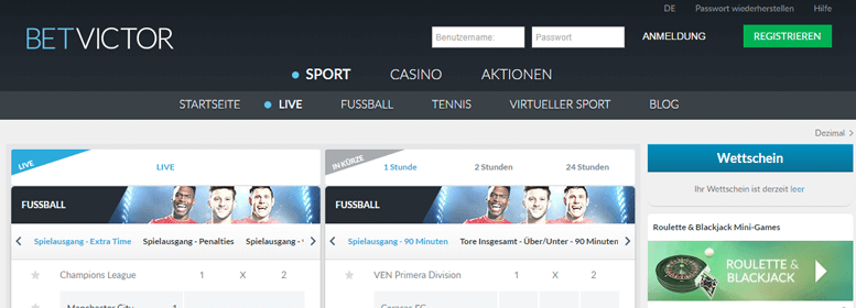 BetVictor PayPal Wette Live