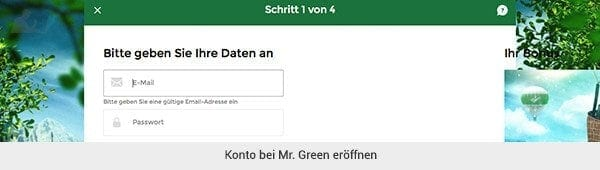 Mr Green Registrierung