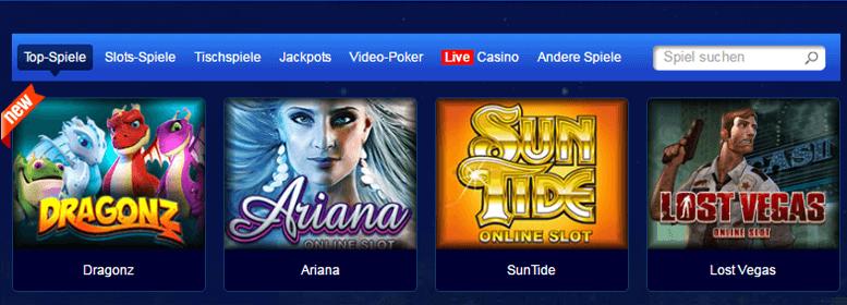 Spielübersicht im All Slots Casino