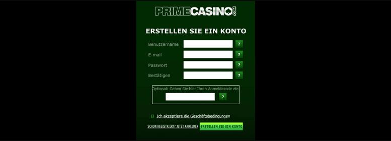 Anmeldeformular im Prime Casino