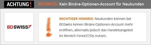 BDSWISS - Hinweis für Neukunden