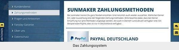 Sunmaker Einzahlung und Auszahlung