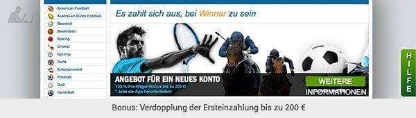 Winner Sportwetten Bonus
