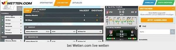 Fußball Live Wetten bei Wetten.com