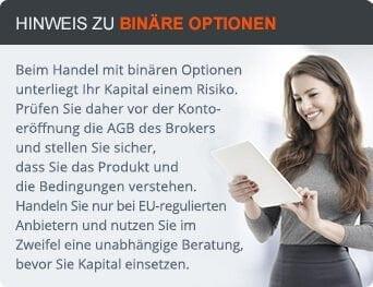 Risikohinweis zu Binären Optionen