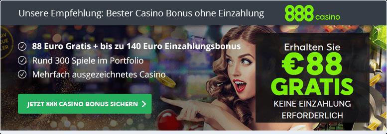 Empfehlung: bestes Casino ohne Einzahlung: 888Casino
