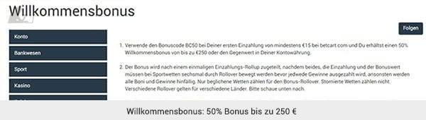 betcart Sportwetten Bonus