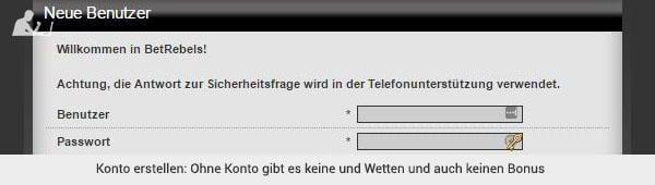 BetRebels Registrierung