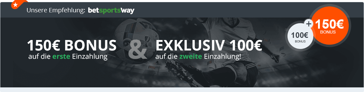Betway Banner mit Exklusiv-Bonus bis zu 250 Euro für Neukunden
