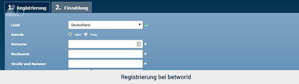 betworld Registrierung