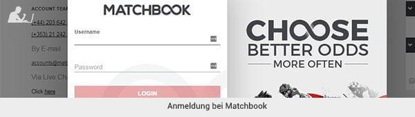 Matchbook Registrierung