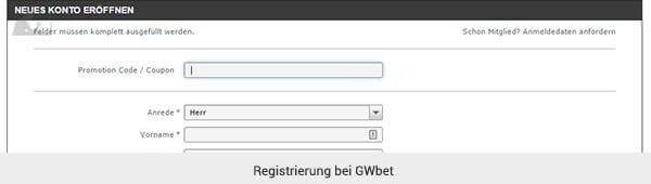 GWbet Registrierung
