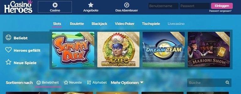 Slots und mehr bei Casino Heroes