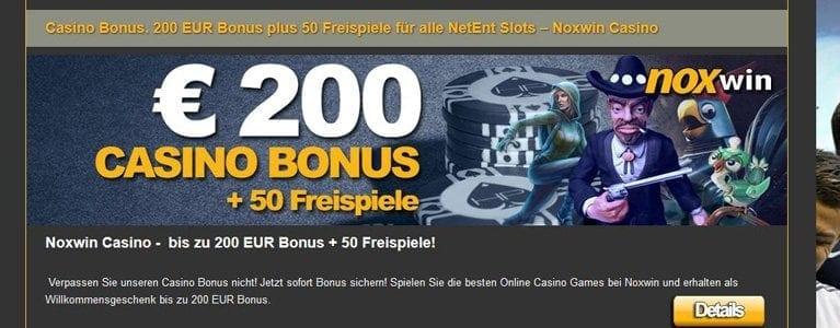 200 Euro + Freispiele bei Noxwin