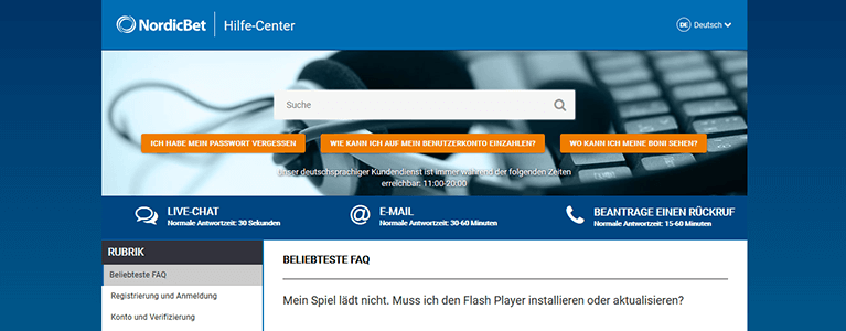 NordicBet Kundendienst