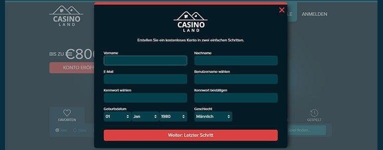 Casinoland Anmeldung