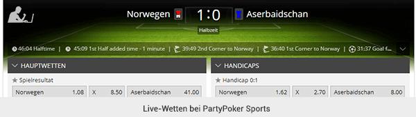 PartyPoker Sports Livewetten