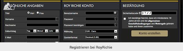 RoyRichie Registrierung