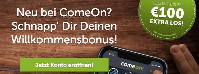 ComeOn Bonus für Neukunden
