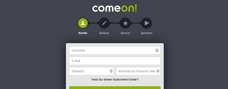 ComeOn! Registrierung