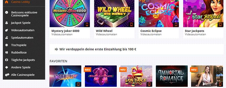 Betsson Casino Angebote
