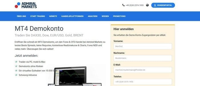 Demokonto für ETH-Handel