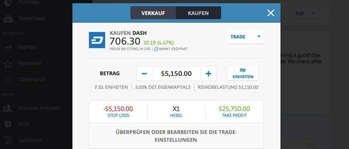 eToro Dash Trade