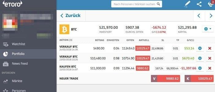 eToro Bitcoin Trade