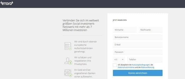eToro Registrierung online