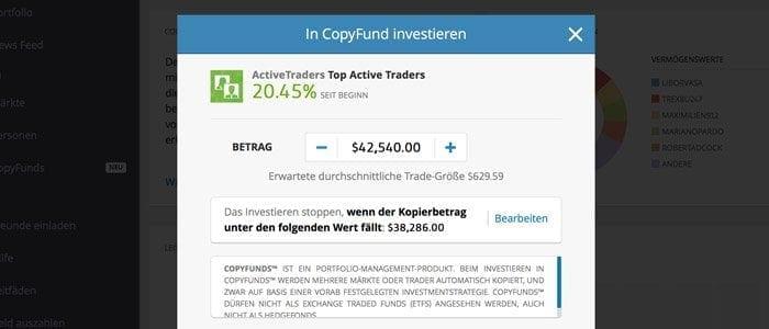 Copy Funds Kopierfunktion eToro