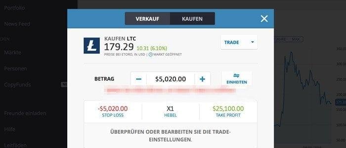 eToro Litecoins Trade