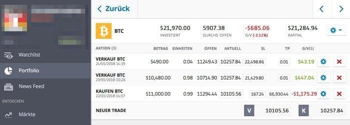eToro persönliches Portfolio Bitcoin