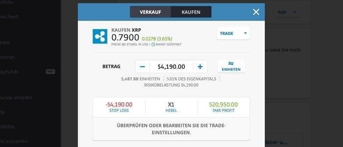 eToro Trade XRP