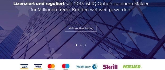 iq option Kreditkarten